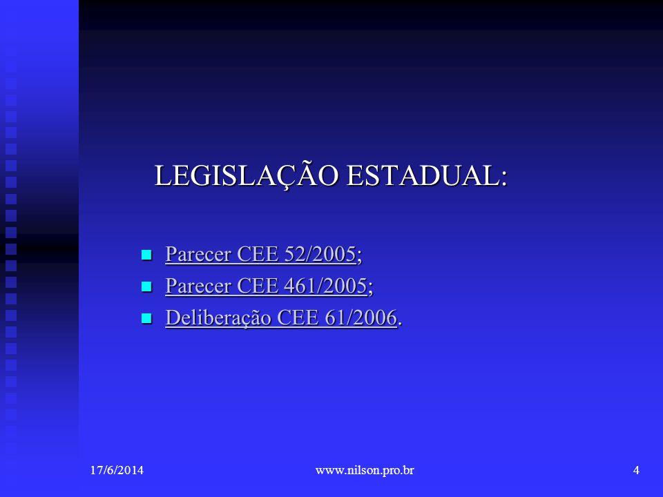 Ampliação do Ensino Obrigatório 17/6/20145www.nilson.pro.br