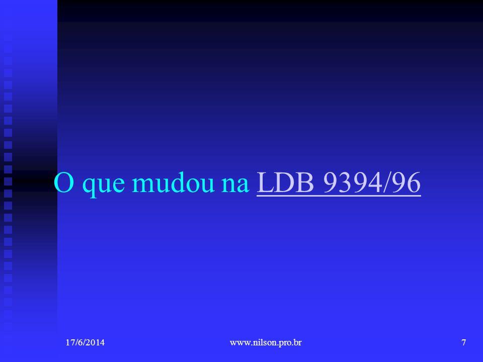 O que mudou na LDB 9394/96LDB 9394/96 17/6/20147www.nilson.pro.br
