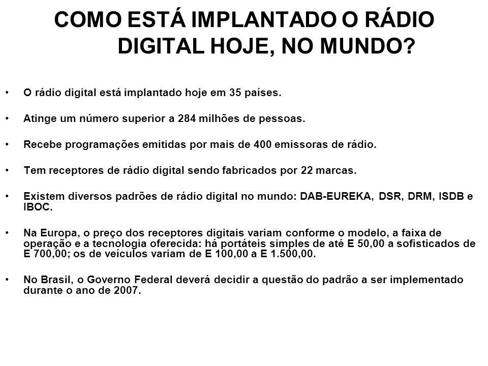 COMO ESTÁ IMPLANTADO O RÁDIO DIGITAL HOJE, NO MUNDO? O rádio digital está implantado hoje em 35 países. Atinge um número superior a 284 milhões de pes