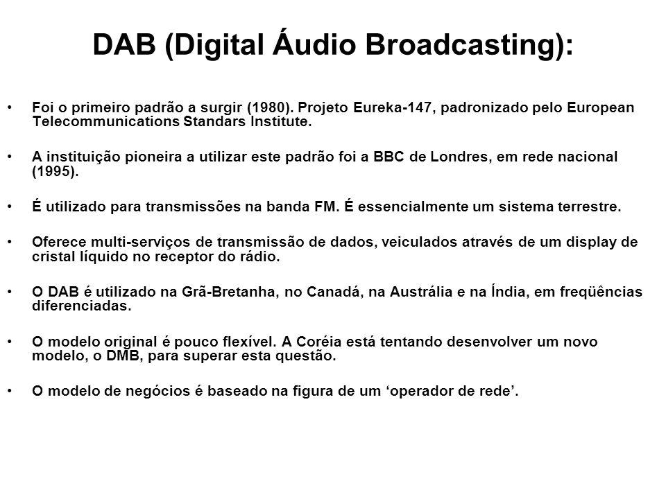 DAB (Digital Áudio Broadcasting): Foi o primeiro padrão a surgir (1980). Projeto Eureka-147, padronizado pelo European Telecommunications Standars Ins