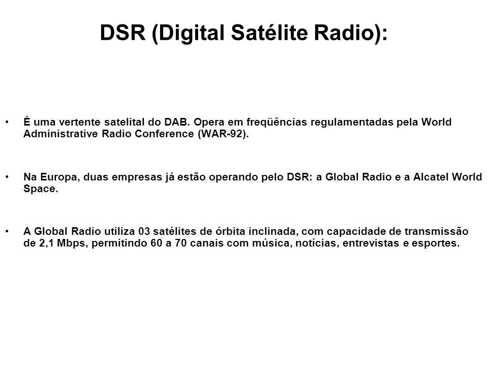DSR (Digital Satélite Radio): É uma vertente satelital do DAB. Opera em freqüências regulamentadas pela World Administrative Radio Conference (WAR-92)