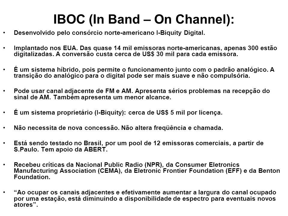 IBOC (In Band – On Channel): Desenvolvido pelo consórcio norte-americano I-Biquity Digital. Implantado nos EUA. Das quase 14 mil emissoras norte-ameri