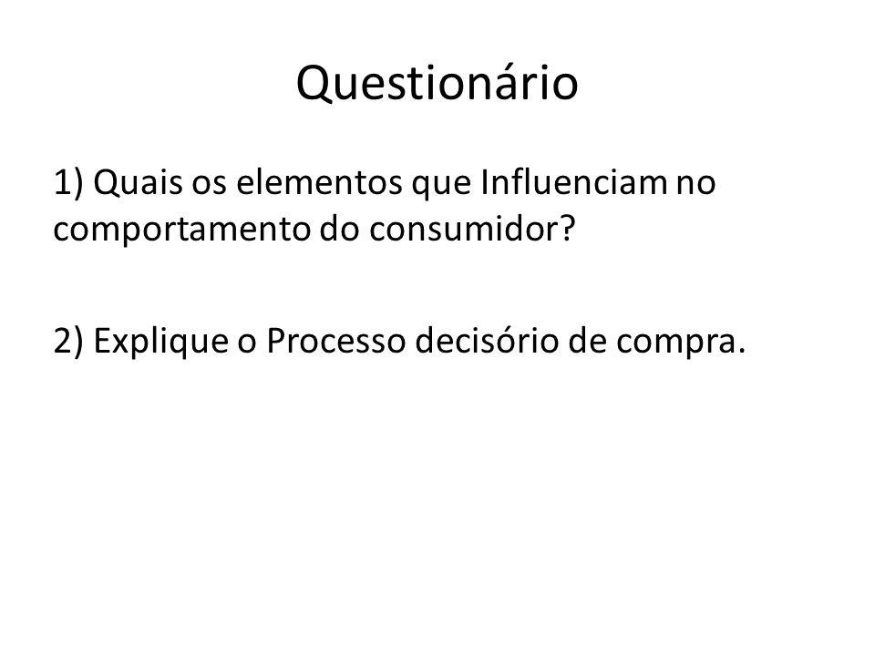 Questionário 1) Quais os elementos que Influenciam no comportamento do consumidor? 2) Explique o Processo decisório de compra.