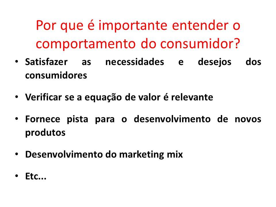Por que é importante entender o comportamento do consumidor? Satisfazer as necessidades e desejos dos consumidores Verificar se a equação de valor é r