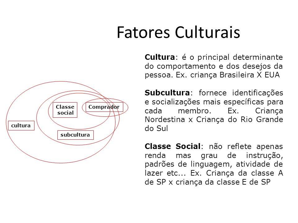 Fatores Culturais cultura Cultura: é o principal determinante do comportamento e dos desejos da pessoa. Ex. criança Brasileira X EUA Subcultura: forne