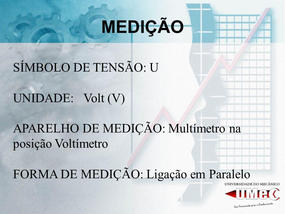 MEDIÇÃO SÍMBOLO DE TENSÃO: U UNIDADE: Volt (V) APARELHO DE MEDIÇÃO: Multímetro na posição Voltímetro FORMA DE MEDIÇÃO: Ligação em Paralelo