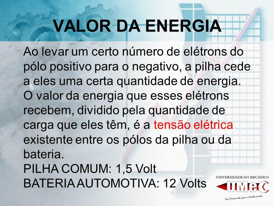 VALOR DA ENERGIA Ao levar um certo número de elétrons do pólo positivo para o negativo, a pilha cede a eles uma certa quantidade de energia. O valor d