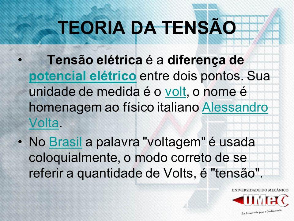 TEORIA DA TENSÃO Tensão elétrica é a diferença de potencial elétrico entre dois pontos. Sua unidade de medida é o volt, o nome é homenagem ao físico i