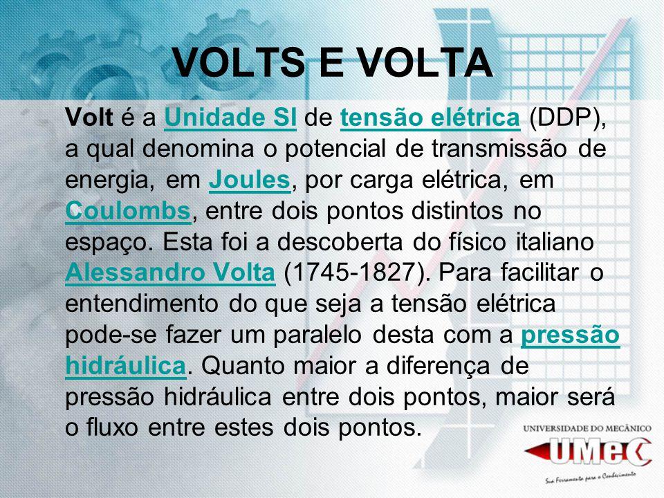 VOLTS E VOLTA Volt é a Unidade SI de tensão elétrica (DDP), a qual denomina o potencial de transmissão de energia, em Joules, por carga elétrica, em C