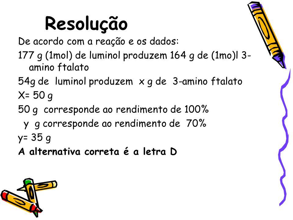 Resolução De acordo com a reação e os dados: 177 g (1mol) de luminol produzem 164 g de (1mo)l 3- amino ftalato 54g de luminol produzem x g de 3-amino