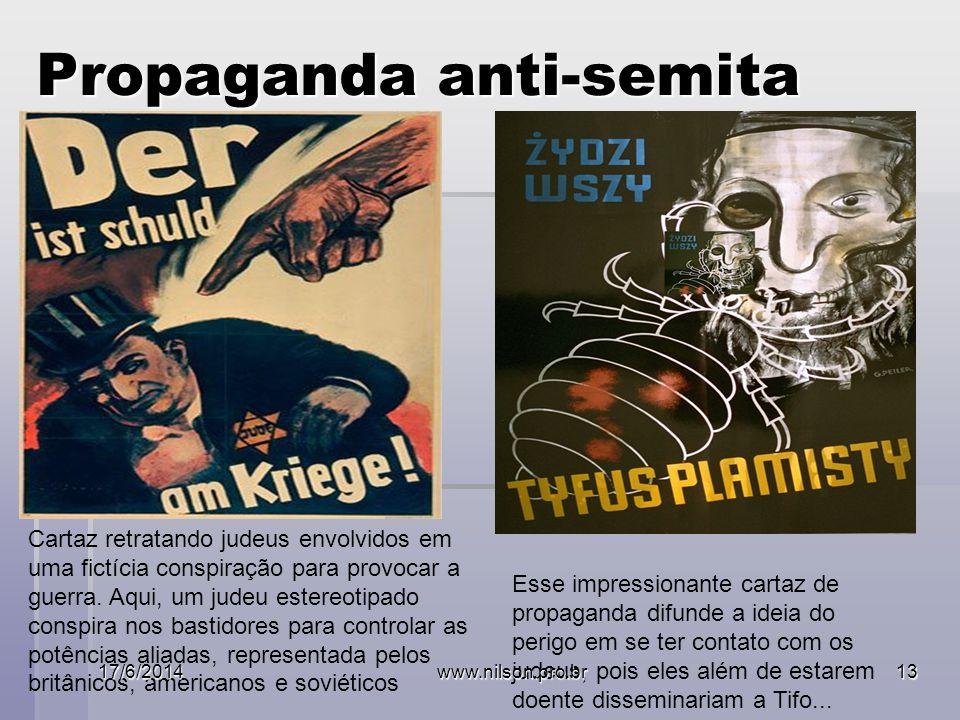 Propaganda anti-semita Cartaz retratando judeus envolvidos em uma fictícia conspiração para provocar a guerra.