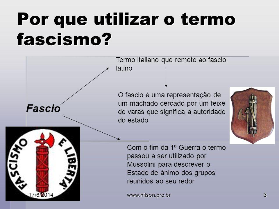 Por que utilizar o termo fascismo? Fascio Termo italiano que remete ao fascio latino O fascio é uma representação de um machado cercado por um feixe d