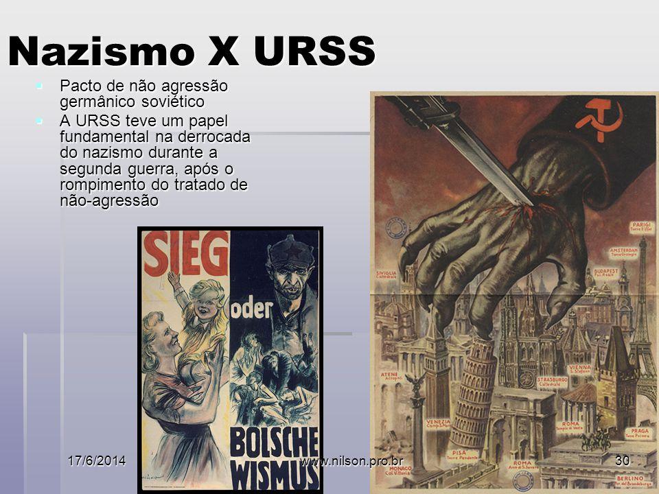 Nazismo X URSS Pacto de não agressão germânico soviético Pacto de não agressão germânico soviético A URSS teve um papel fundamental na derrocada do nazismo durante a segunda guerra, após o rompimento do tratado de não-agressão A URSS teve um papel fundamental na derrocada do nazismo durante a segunda guerra, após o rompimento do tratado de não-agressão 17/6/2014www.nilson.pro.br30