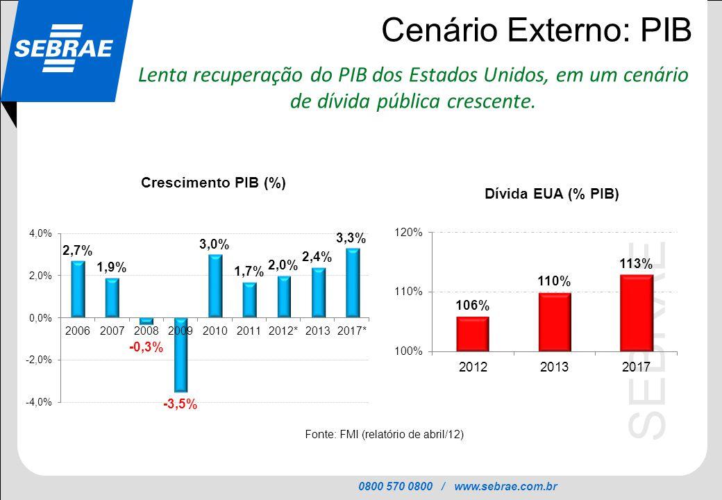 0800 570 0800 / www.sebrae.com.br SEBRAE Cenário Externo: PIB Lenta recuperação do PIB dos Estados Unidos, em um cenário de dívida pública crescente.