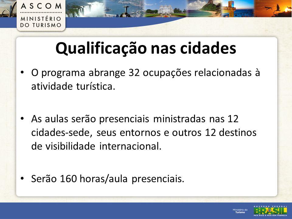 Qualificação nas cidades O programa abrange 32 ocupações relacionadas à atividade turística.
