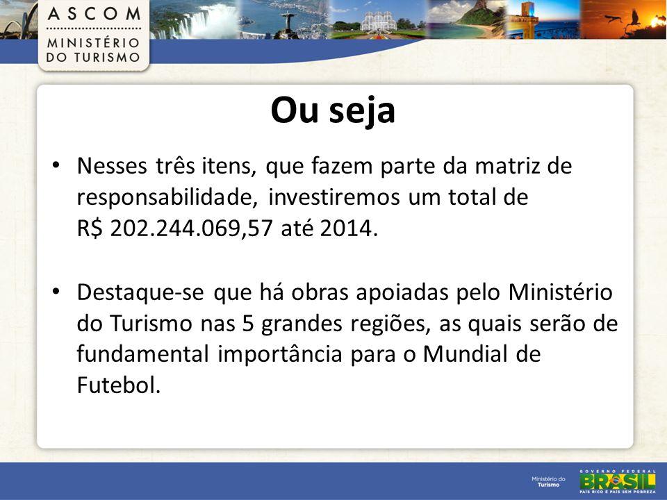 Ou seja Nesses três itens, que fazem parte da matriz de responsabilidade, investiremos um total de R$ 202.244.069,57 até 2014.