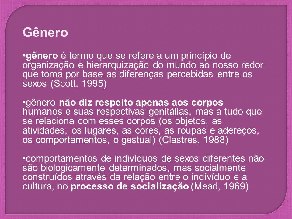 Gênero gênero é termo que se refere a um princípio de organização e hierarquização do mundo ao nosso redor que toma por base as diferenças percebidas