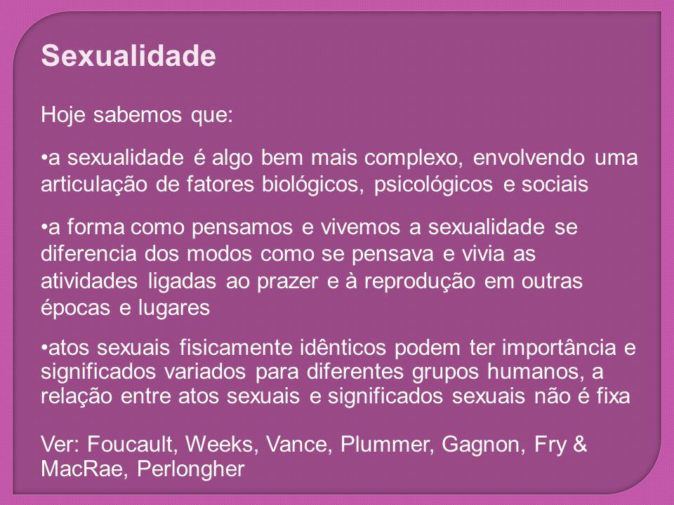 Sexualidade Hoje sabemos que: a sexualidade é algo bem mais complexo, envolvendo uma articulação de fatores biológicos, psicológicos e sociais a forma