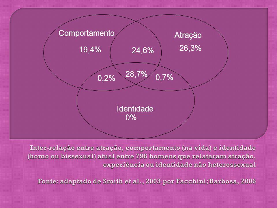 Comportamento Identidade Atração 19,4% 24,6% 28,7% 0,2% 0% 0,7% 26,3%