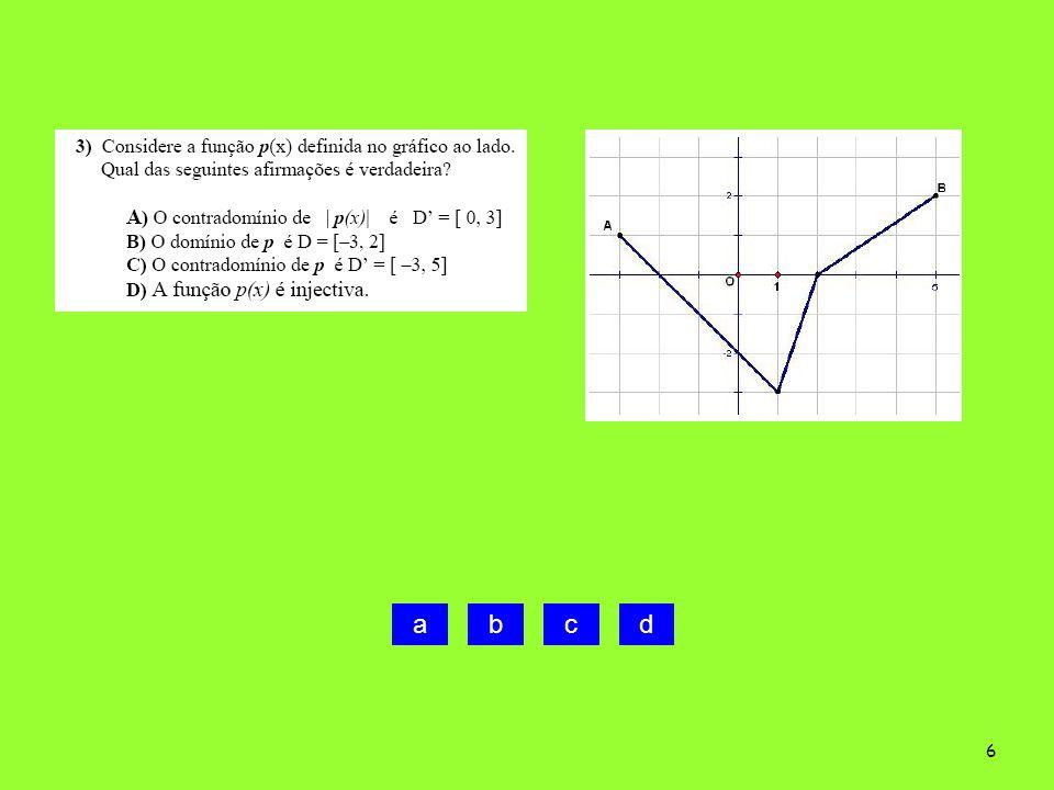 5 A)Falsa. D=[ 0, 2 ] B) Verdadeira C) Falsa. D= [ -3, 2] D) Falsa. D=[ 0, 2 ]