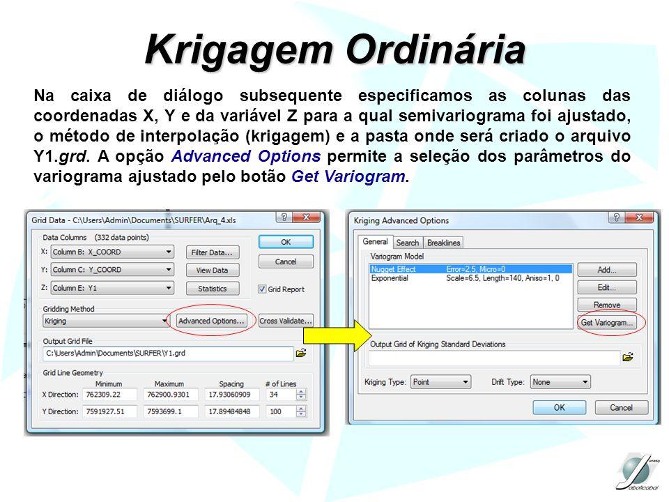 Krigagem Ordinária Na caixa de diálogo subsequente especificamos as colunas das coordenadas X, Y e da variável Z para a qual semivariograma foi ajustado, o método de interpolação (krigagem) e a pasta onde será criado o arquivo Y1.grd.