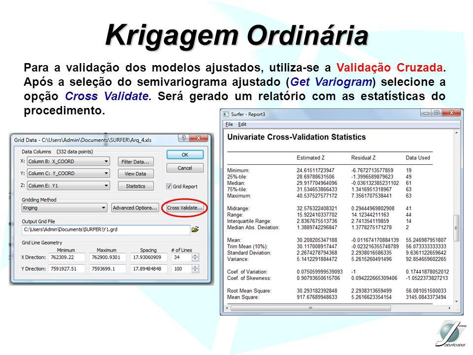 Krigagem Ordinária Para a validação dos modelos ajustados, utiliza-se a Validação Cruzada. Após a seleção do semivariograma ajustado (Get Variogram) s