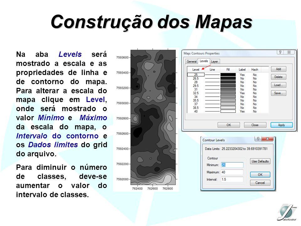 Na aba Levels será mostrado a escala e as propriedades de linha e de contorno do mapa. Para alterar a escala do mapa clique em Level, onde será mostra