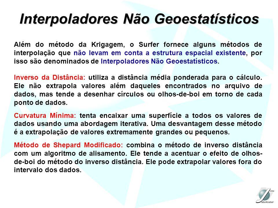 Interpoladores Não Geoestatísticos Além do método da Krigagem, o Surfer fornece alguns métodos de interpolação que não levam em conta a estrutura espacial existente, por isso são denominados de Interpoladores Não Geoestatísticos.