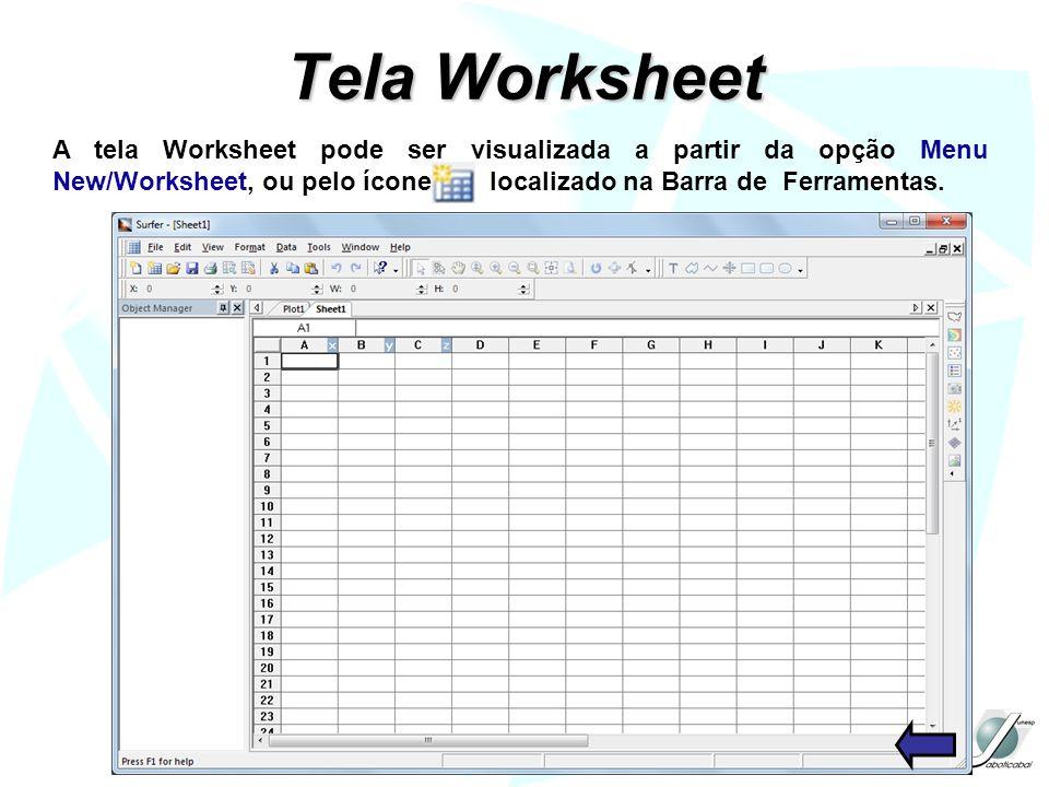 Tela Worksheet A tela Worksheet pode ser visualizada a partir da opção Menu New/Worksheet, ou pelo ícone localizado na Barra de Ferramentas.
