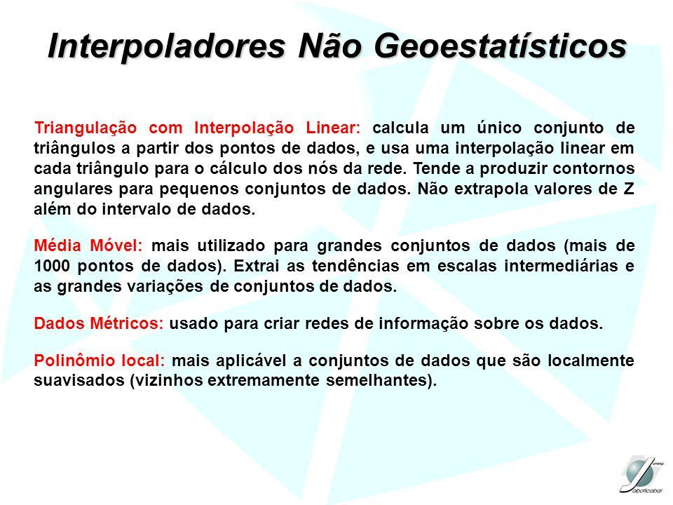 Triangulação com Interpolação Linear: calcula um único conjunto de triângulos a partir dos pontos de dados, e usa uma interpolação linear em cada triâ