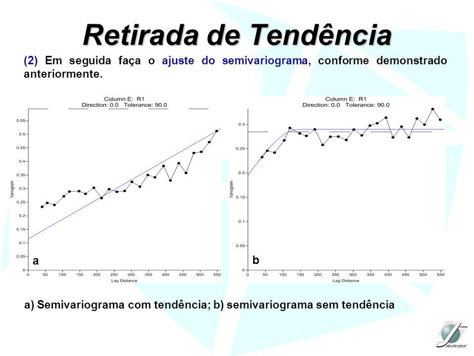 Retirada de Tendência (2) Em seguida faça o ajuste do semivariograma, conforme demonstrado anteriormente. a b a) Semivariograma com tendência; b) semi