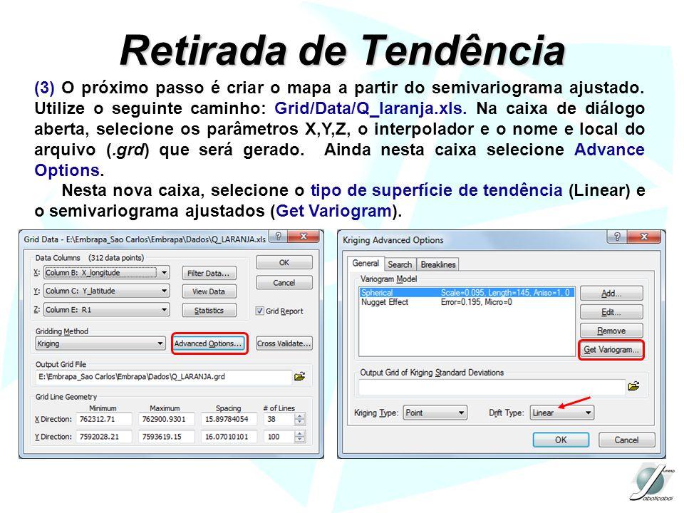 Retirada de Tendência (3) O próximo passo é criar o mapa a partir do semivariograma ajustado. Utilize o seguinte caminho: Grid/Data/Q_laranja.xls. Na