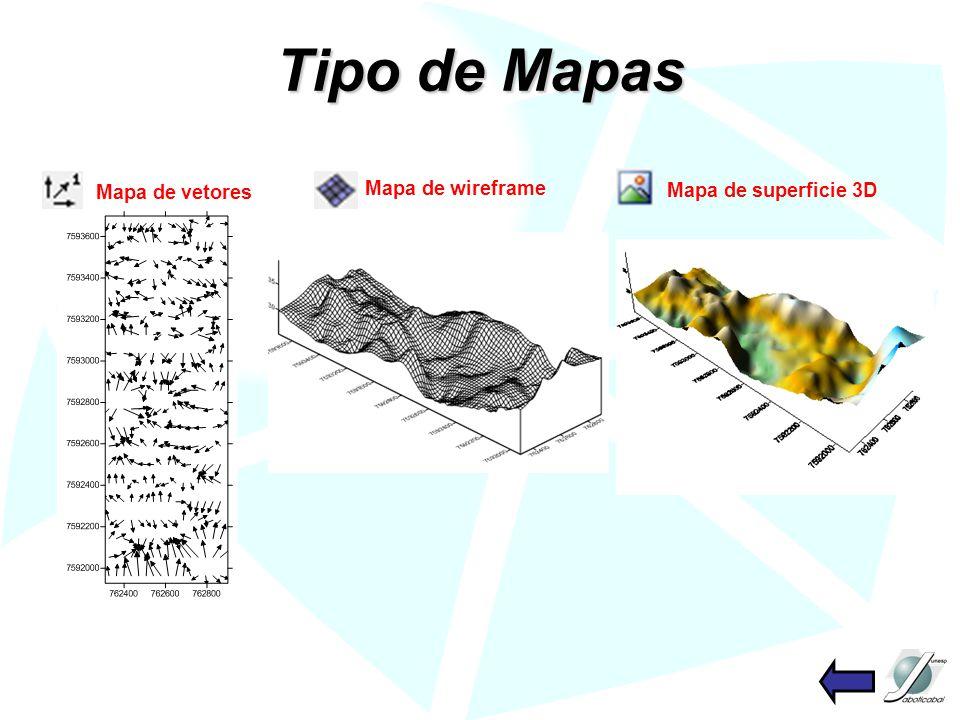 Tipo de Mapas Mapa de vetores Mapa de superficie 3D Mapa de wireframe