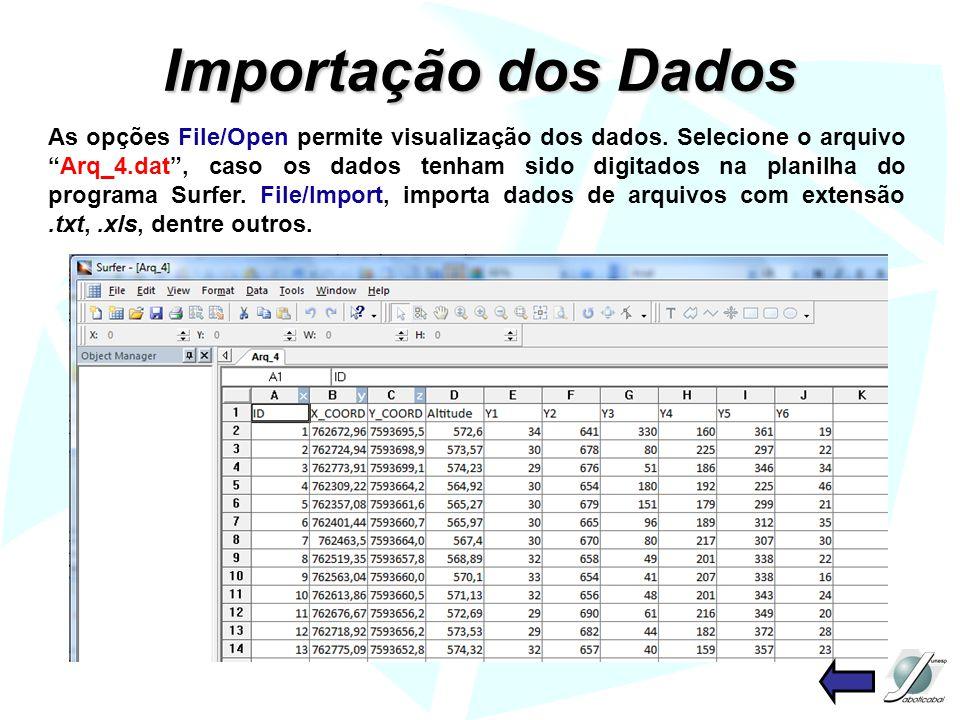 Importação dos Dados As opções File/Open permite visualização dos dados. Selecione o arquivoArq_4.dat, caso os dados tenham sido digitados na planilha