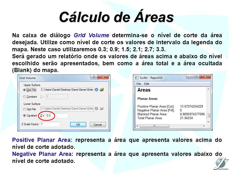 Cálculo de Áreas Na caixa de diálogo Grid Volume determina-se o nível de corte da área desejada. Utilize como nível de corte os valores de intervalo d