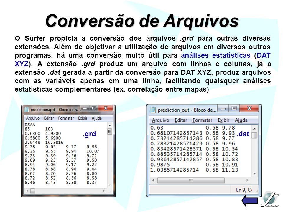Conversão de Arquivos O Surfer propicia a conversão dos arquivos.grd para outras diversas extensões. Além de objetivar a utilização de arquivos em div