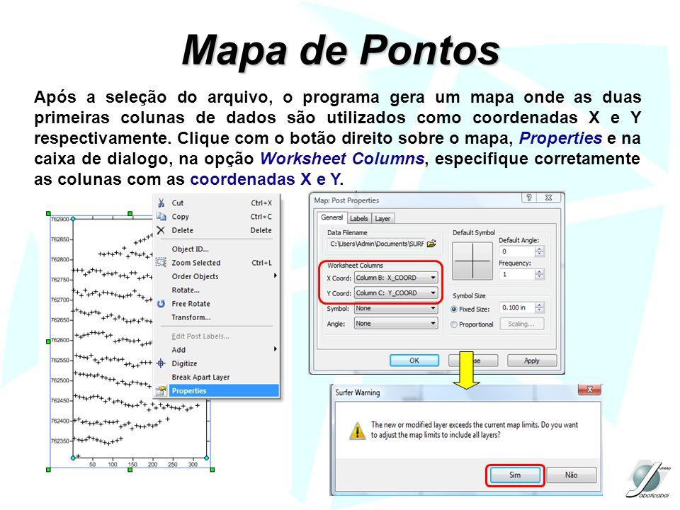 Mapa de Pontos Após a seleção do arquivo, o programa gera um mapa onde as duas primeiras colunas de dados são utilizados como coordenadas X e Y respec