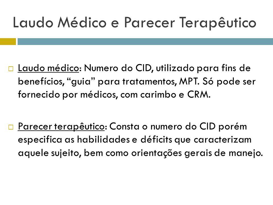 Laudo Médico e Parecer Terapêutico Laudo médico: Numero do CID, utilizado para fins de benefícios, guia para tratamentos, MPT. Só pode ser fornecido p