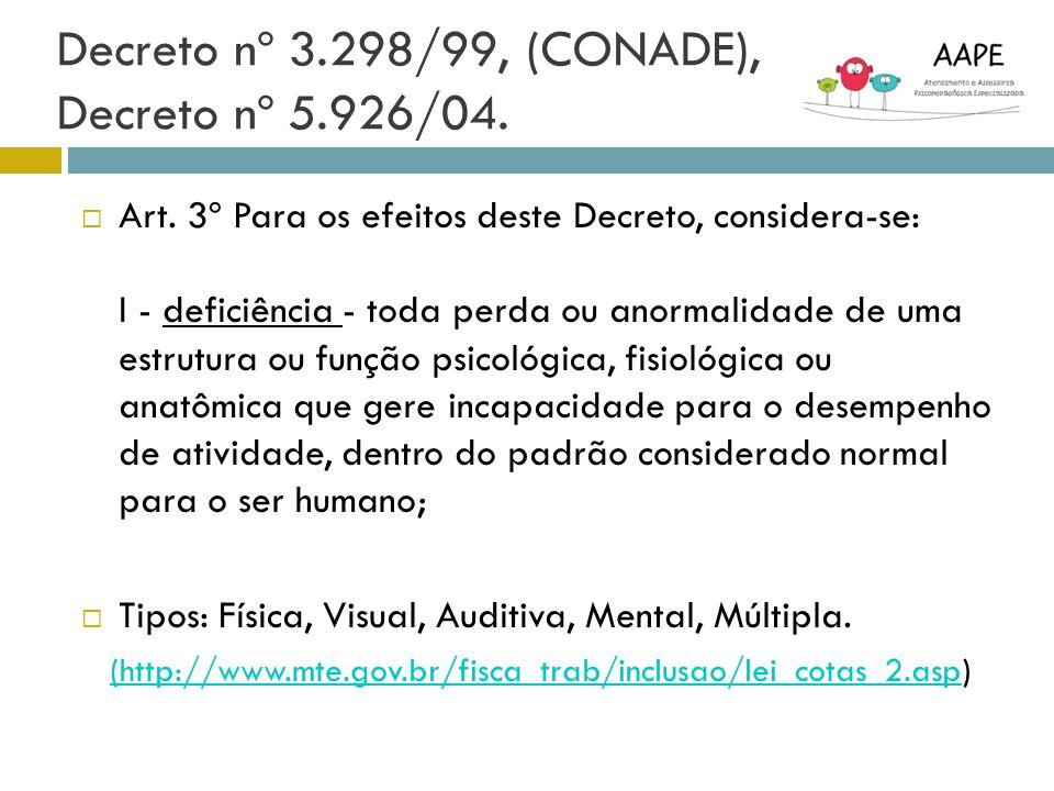 Decreto nº 3.298/99, (CONADE), Decreto nº 5.926/04. Art. 3º Para os efeitos deste Decreto, considera-se: I - deficiência - toda perda ou anormalidade