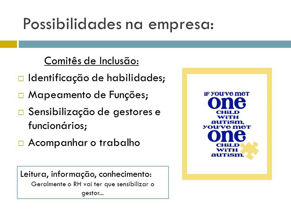 Possibilidades na empresa: Comitês de Inclusão: Identificação de habilidades; Mapeamento de Funções; Sensibilização de gestores e funcionários; Acompa