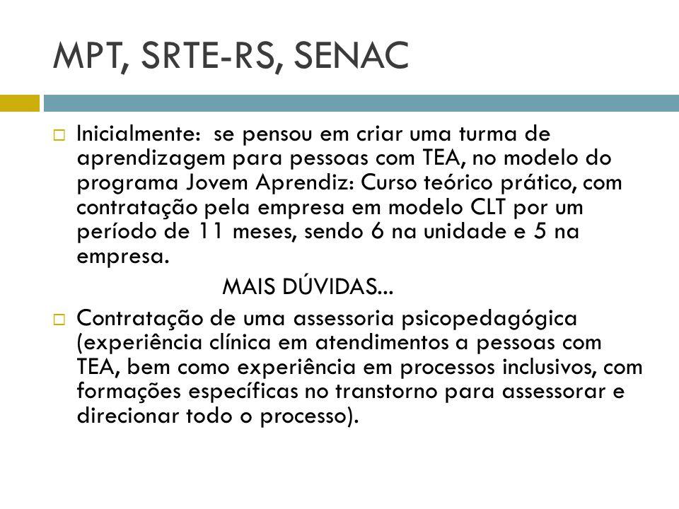 MPT, SRTE-RS, SENAC Inicialmente: se pensou em criar uma turma de aprendizagem para pessoas com TEA, no modelo do programa Jovem Aprendiz: Curso teóri