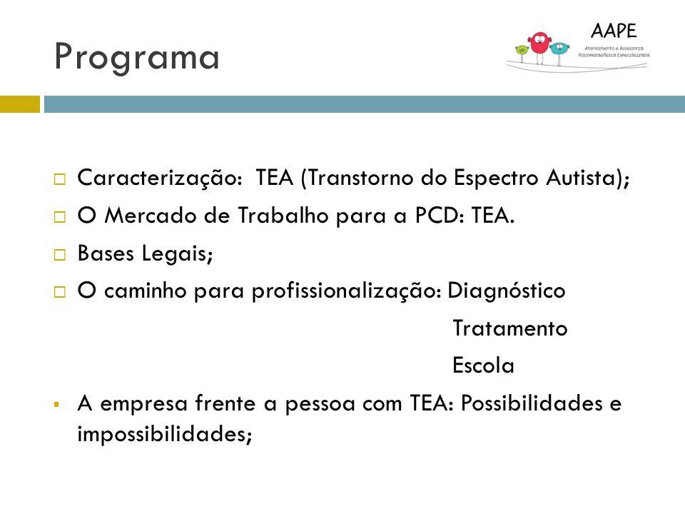 Programa Caracterização: TEA (Transtorno do Espectro Autista); O Mercado de Trabalho para a PCD: TEA. Bases Legais; O caminho para profissionalização: