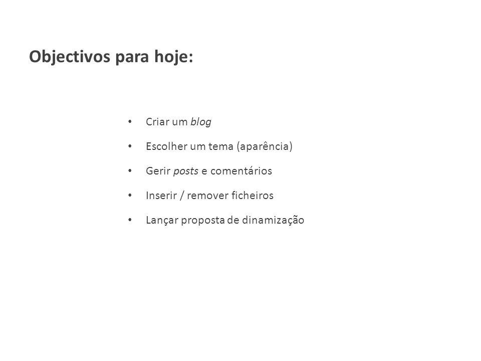 Objectivos para hoje: Criar um blog Escolher um tema (aparência) Gerir posts e comentários Inserir / remover ficheiros Lançar proposta de dinamização