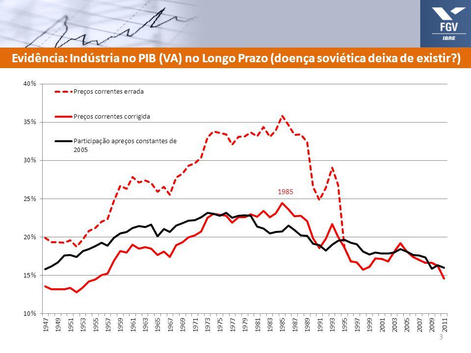 Indústria no PIB (VA) desde 1947 (preços constantes de 2009) e Preços Relativos 4 Máximo de participação é de 24% em 1974-76 Média de 2009-11 = 17% Logo, perdeu um (1) p.p.