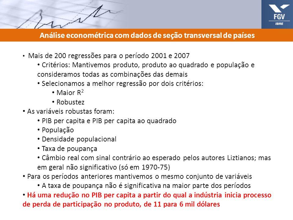9 Análise econométrica com dados de seção transversal de países Mais de 200 regressões para o período 2001 e 2007 Critérios: Mantivemos produto, produ