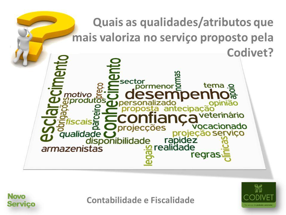 Quais as qualidades/atributos que mais valoriza no serviço proposto pela Codivet.