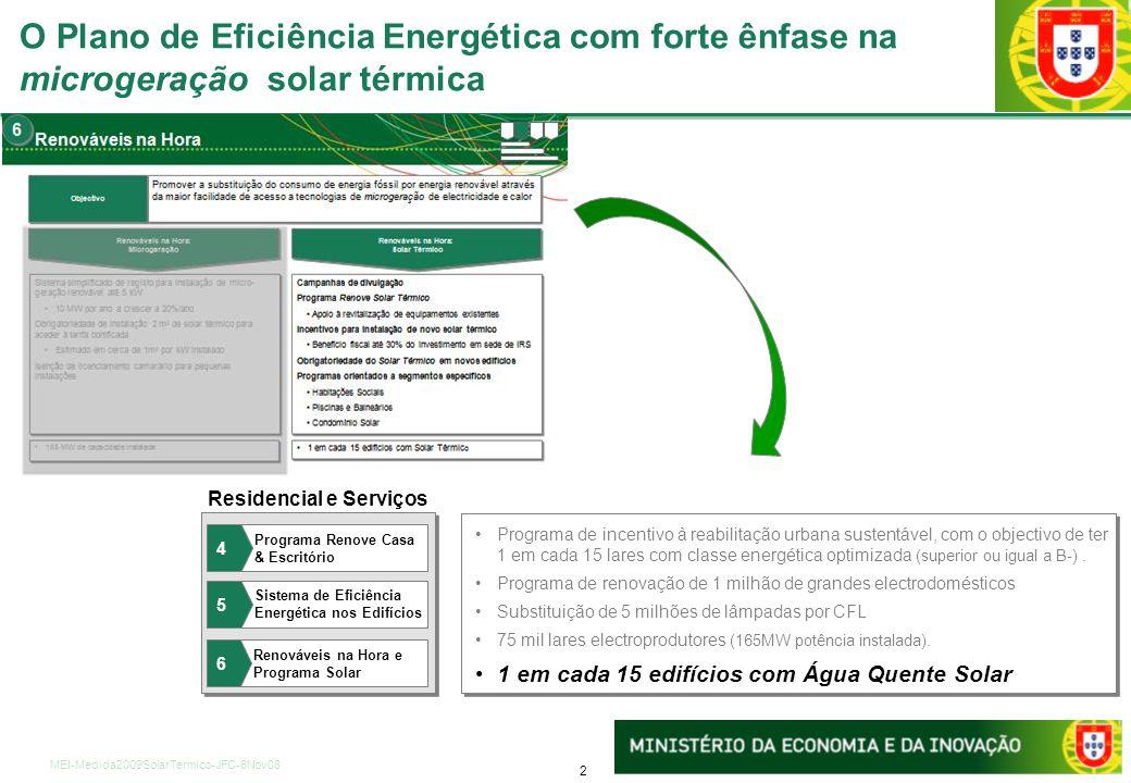 13 MEI-Medida2009SolarTermico-JFC-6Nov08 Incentivos e financiamento Cheque eficiência: Prémio equivalente a 10% ou 20% dos gastos em electricidade Crédito bonificado: 250M/ano para investimentos em eficiência (enfoque reabilitação urbana) Dinamização de Empresas de Serviços de Energia através de incentivos à sua criação(QREN), concursos para auditorias no Estado e regulamentação do Contrato Eficiência Cheque eficiência: Prémio equivalente a 10% ou 20% dos gastos em electricidade Crédito bonificado: 250M/ano para investimentos em eficiência (enfoque reabilitação urbana) Dinamização de Empresas de Serviços de Energia através de incentivos à sua criação(QREN), concursos para auditorias no Estado e regulamentação do Contrato Eficiência Fiscalidade Incentivos fiscais à micro-produção e alinhamento progressivo da fiscalidade com o Sistemade Certificação Energética dos Edifícios (ex.