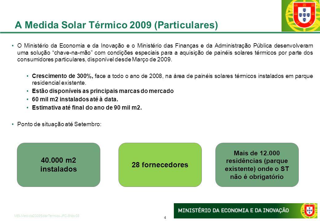 4 MEI-Medida2009SolarTermico-JFC-6Nov08 A Medida Solar Térmico 2009 (Particulares) 40.000 m2 instalados 28 fornecedores Mais de 12.000 residências (pa