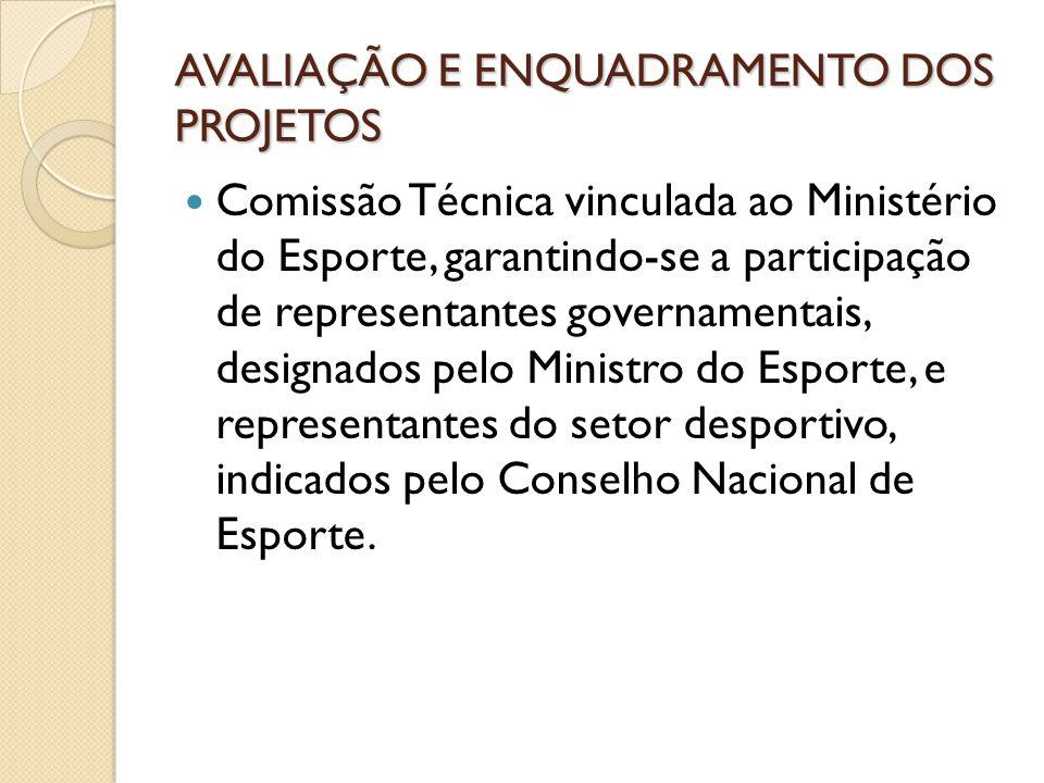 AVALIAÇÃO E ENQUADRAMENTO DOS PROJETOS Comissão Técnica vinculada ao Ministério do Esporte, garantindo-se a participação de representantes governament