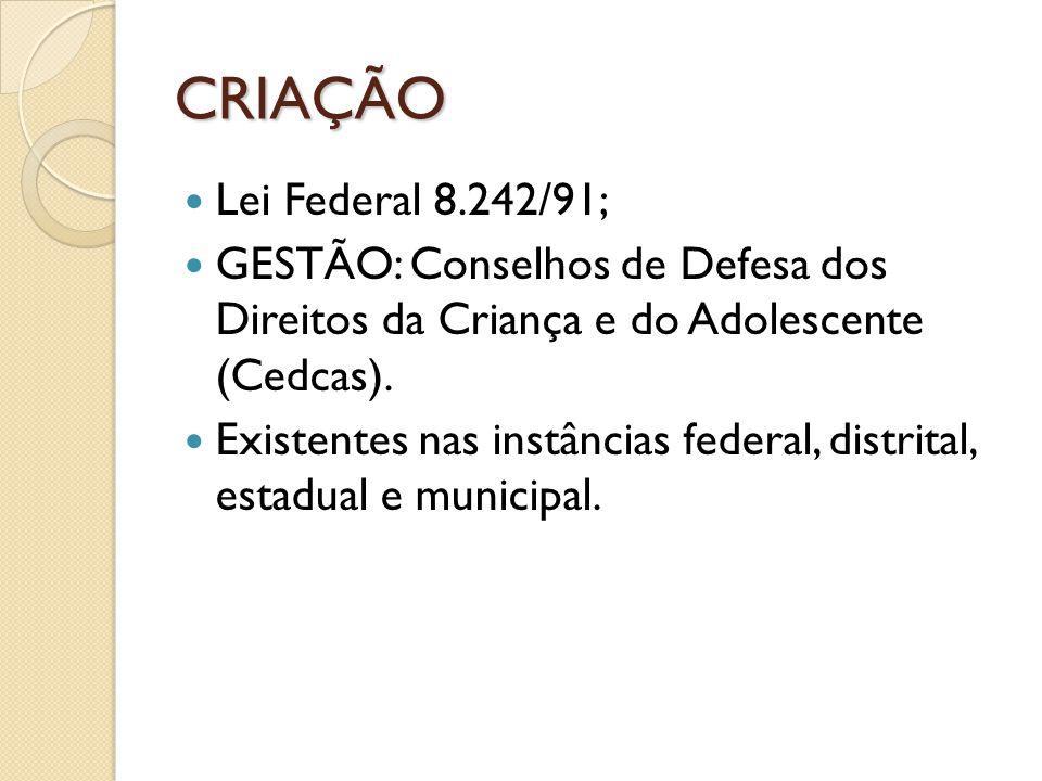 CRIAÇÃO Lei Federal 8.242/91; GESTÃO: Conselhos de Defesa dos Direitos da Criança e do Adolescente (Cedcas). Existentes nas instâncias federal, distri